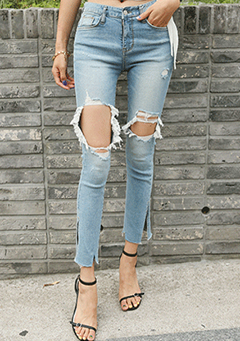 Destroyed Mid-Rise Slim Jeans