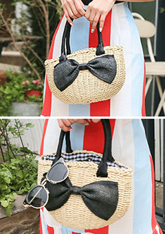 King Ribbon Straw Bag