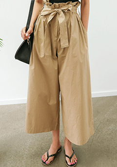 Ribbon-Waisted Wide Summer Pants