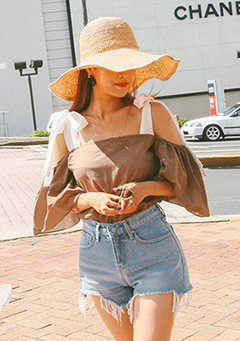 Ribbon Strap Cold Shoulder Blouse