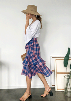 Plaid Tiered Ruffled Skirt