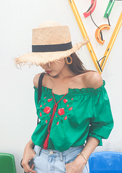 Embroidered Rose Off-Shoulder Blouse