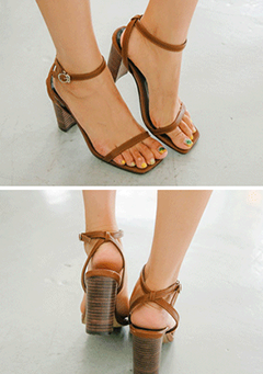 Chunky-Heeled Ankle Strap Sandals