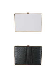 Crocodile Texture Structured Clutch Bag
