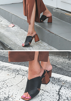 Crossed Strap Block Heel Mules