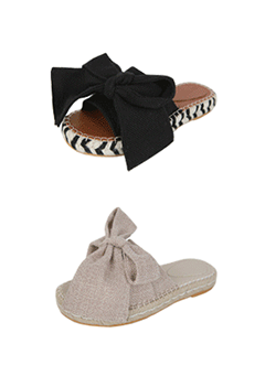 Ribbon Espadrille Slide Sandals
