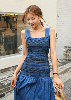 Drop Waist Shirred Denim Dress