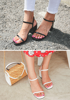 Thin Strap Heeled Ankle Strap Sandals
