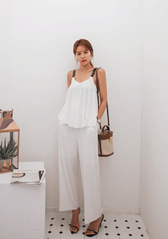 Corrugated Flare Top and Pants Set