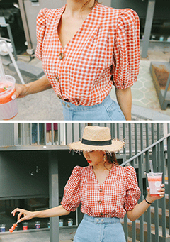 Gingham Check Button-Down Blouse