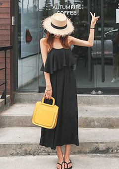 Tiered Flare Chest Long Dress