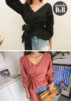 Ribbon-Wrapped Side Blouse