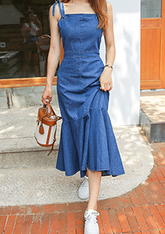 Frilled Hem Denim Dress