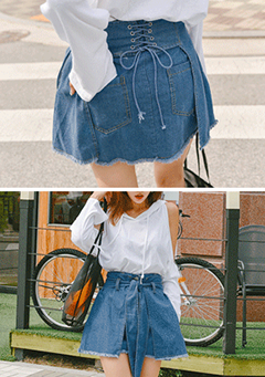 Corset Back Denim Skirt