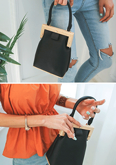 Wooden Detail Leatherette Handbag
