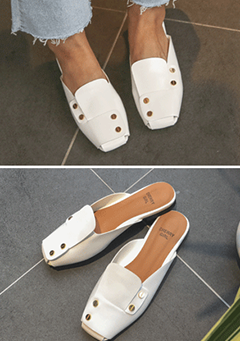 Square Toe Open Back Loafers