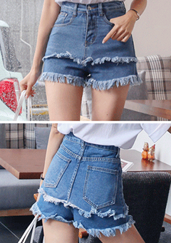 Frayed Tiered Denim Shorts