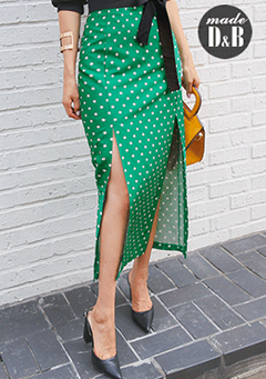 Dotted Slit Midaxi Skirt