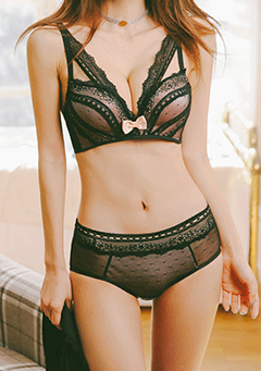 Lace Mesh Bra and Mid-Rise Panties Intimate Set