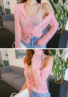 Sheer Lace Button-Front Cardigan