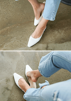 Pointed Toe Open Back Flats