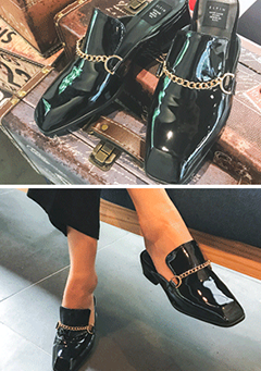 Chain Accent Patent Loafers