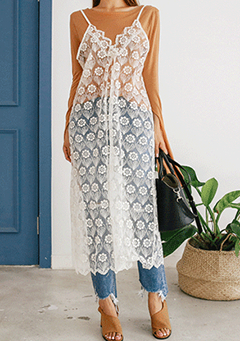 Sheer Lace Slip Dress