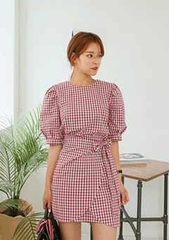 Check Tie-Waist Mini Dress