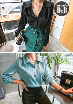Glossy Collared Button-Down Blouse