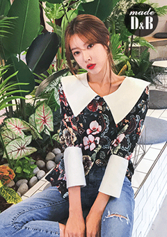Floral Printed Contrast Collar Blouse