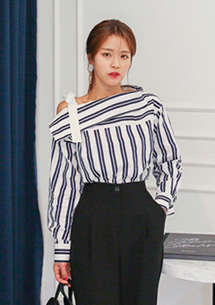 Ribbon Strap Cold-Shoulder Striped Shirt