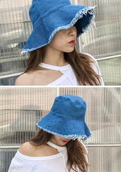 Distressed Denim Bucket Hat