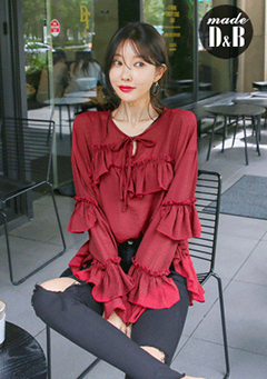 Ribbon Tie Loose Fit Tiered Blouse