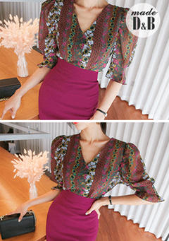 Floral Print Gathered Sleeve Blouse