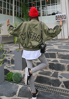 Loose Fit Lettering Embroidered Bomber Jacket