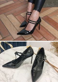 Pointed Toe T-Strap Heels