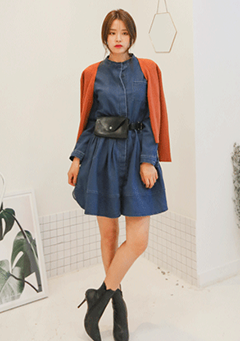 Elastic Waistband Button Up Denim Dress