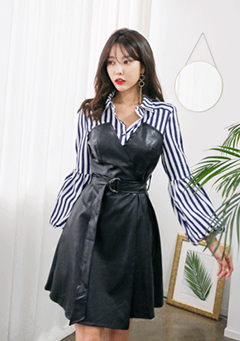 Layered Stripe Shirt Faux Leather Dress