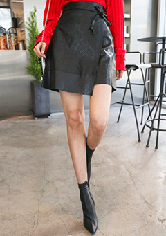 Tie-Waist Faux Leather Wrap Skirt