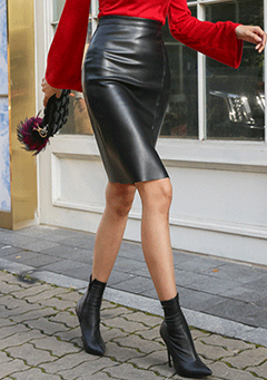 Slit Accent Faux Leather Straight Cut Skirt