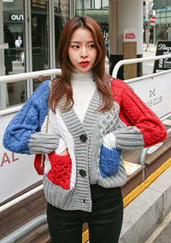 Loose Fit Cable Color Knit Cardigan