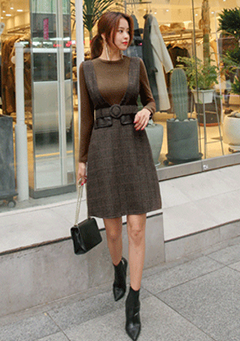 Solid-Tone T-Shirt and Check Dress Set