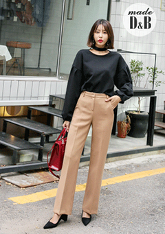 High Waist Straight Cut Pants