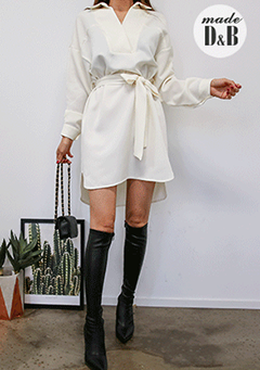 Tie-Waist Asymmetrical Hem Loose Fit Shirt Dress