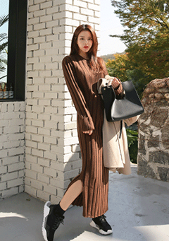 Side Slit Ribbed Long Dress