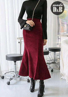 High Waist Flare Hem Long Skirt