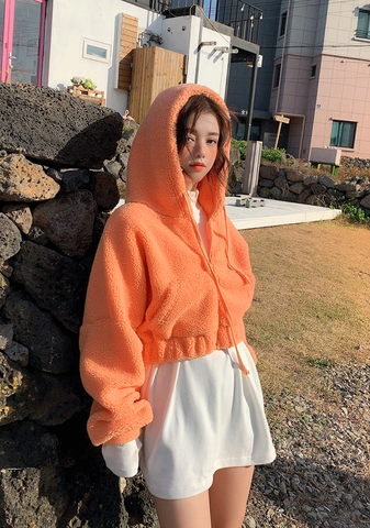 Jeju Oranges Fleece Crop Zip-Up