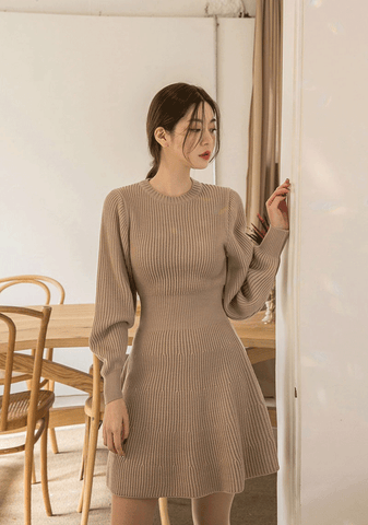 A-Line Puffed Sleeves Dress
