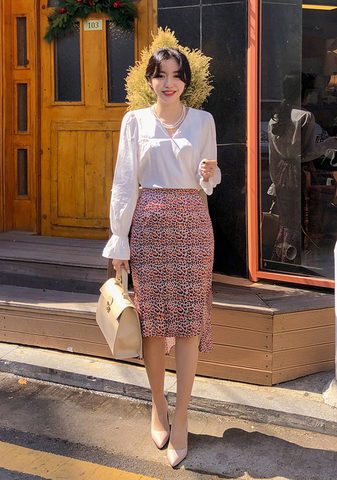 Frill Blouse + Leopard Skirt Set
