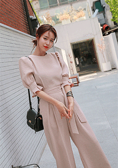 Semi-Elastic Waistband Pleated Jumpsuit
